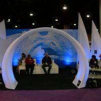 Custom Tension Fabric Displays - lounge, arch, backdrop
