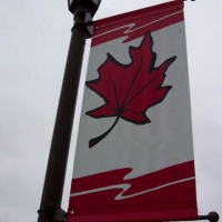 Outdoor Street Pole Banner and Mounting Bracket